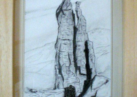 alla Guglia G.E.I. (Piccole Dolomiti) - carboncino su cartone 15x23 cm