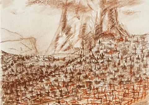 Sassolungo da Ortisei - carboncino su cartone 15x21 cm