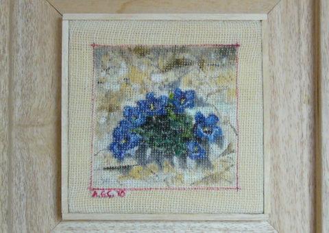 non solo appigli .... in parete (Catinaccio) - olio su tela 15x15 cm