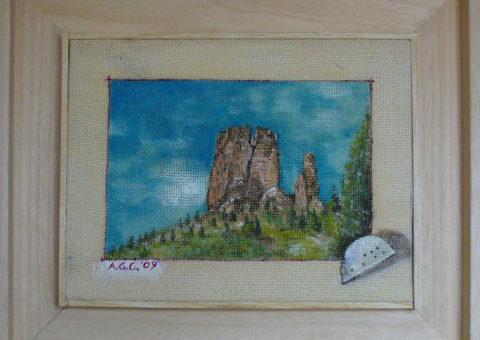 Torre Grande (Cinque Torri) - olio su tela 26x20 cm