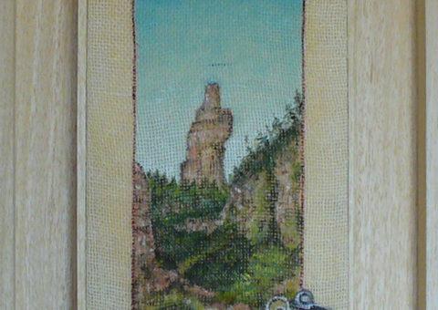 salendo verso l'Urlo Pietrificato - olio su tela 15x30 cm