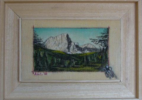 avvicinamento alla Torre Firenze (Odle) - olio su tela 25x15 cm