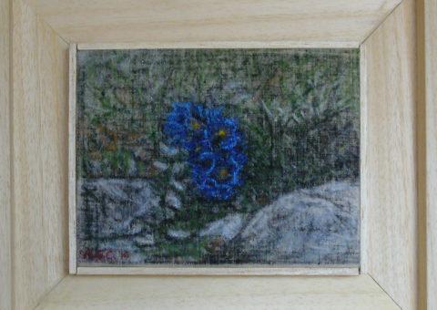 un tocco di azzurro (Odle) - creta su tela 20x15 cm