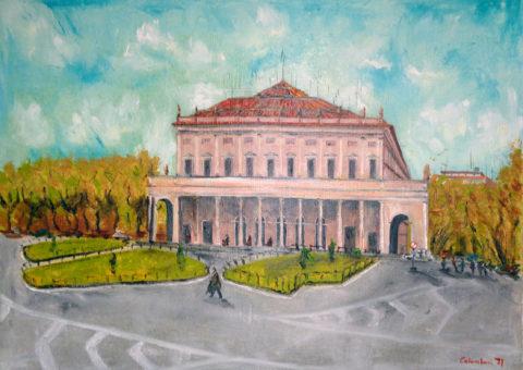 Teatro Municipale (RE) - olio/spatola su tela di iuta 60x80 cm