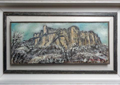 al centro Giorgione - olio su tela 38x15 cm