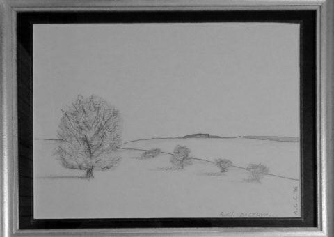 Profili: ... da Cerva ... - carboncino su cartone 28x27 cm