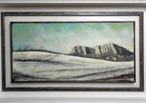 Panorama bismantovino - olio su tela 46x21 cm