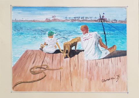 Bambini che pescano - acquarello 32x24 cm