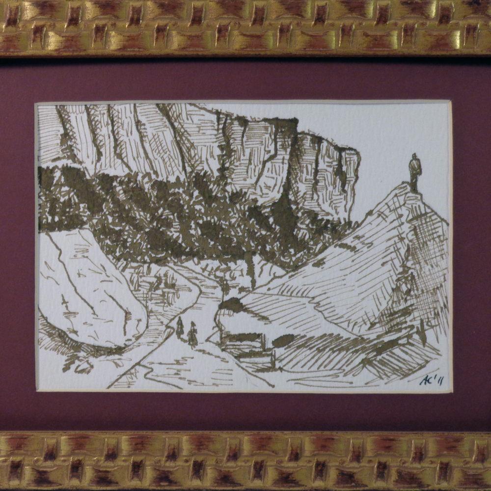 Bismantova retrò - china su cartone 18x13 cm