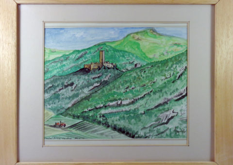 Castel Drena - acquarello su cartone 20x30 cm