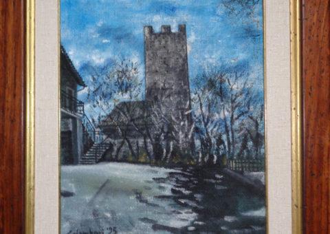 Castello di Viano - olio su tela di iuta 33x40 cm
