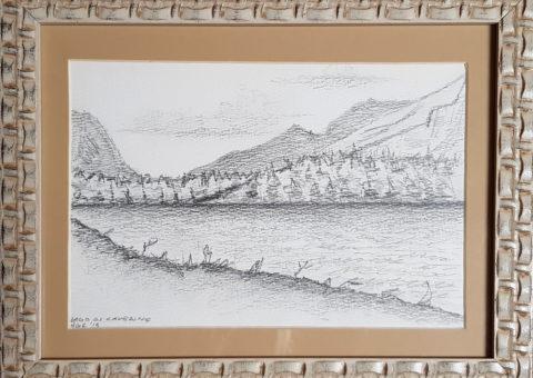 Lago di Cavedine - carboncino su cartone 18x25 cm
