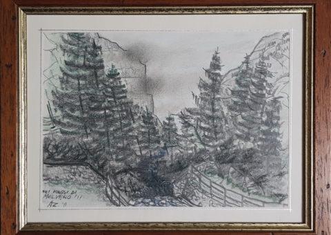 Nei pressi di Molveno - pastello e carboncino su carta 15x21 cm