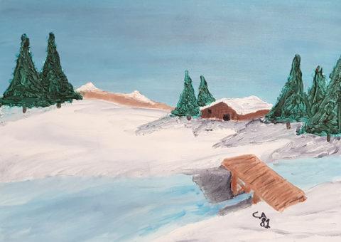 Paesaggio con baita - olio su tela 40x30 cm