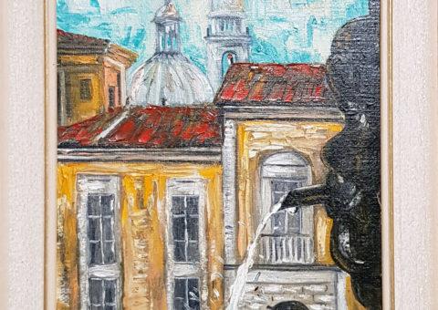 Piazza Prampolini (RE) - olio/spatola su tela 30x40 cm