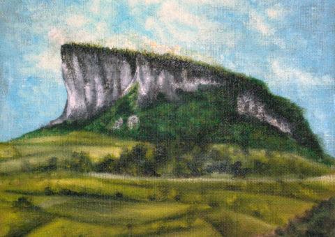 Pietra di Bismantova (vista da Felina) - olio su tela di iuta 48x48 cm