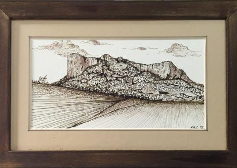 .... dalla Sassaia - china su cartone 25x13,5 cm (2012)