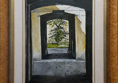 Cortili in via Emilia San Pietro (RE) - olio su tela di iuta 30x40 cm (1997)