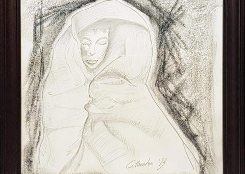 Figura femminile - carboncino su cartone 22,5x22,5 cm (1993)