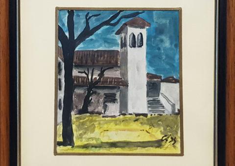 La chiesetta - olio su tela cartonata 9,5x11 cm (1993)