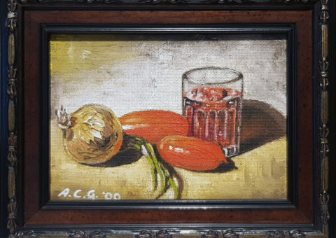 Pomodori e cipolla - olio su tavola 18x13 cm (2000)