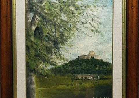 Rocca del Bianello - olio  su tela di iuta 34x40 cm (1995)