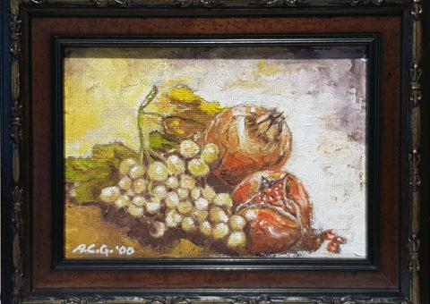 Uva e melograno - olio su tavola 18x13 cm (2000)