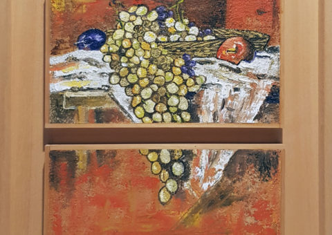 Uva, prugne e mela - olio su tavola 25x30 cm (2002)