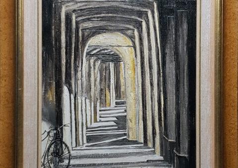 Vicino a Piazza Fontanesi (RE) - olio su tela di iuta 40x60 cm (1997)
