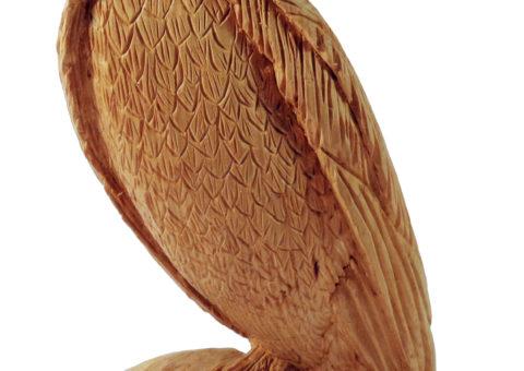 Gufo africano - scultura su pino cembro 25x14x11,5 cm