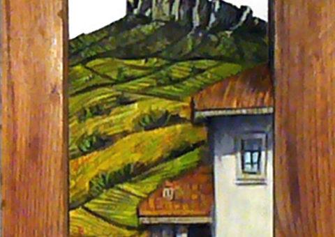 Bismantova dalla Noce - altorilievo dipinto su pino cembro 25x12x4,5 cm