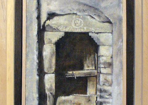Portale con fregio gigliato (Savognatica) - olio su tela 15x30 cm