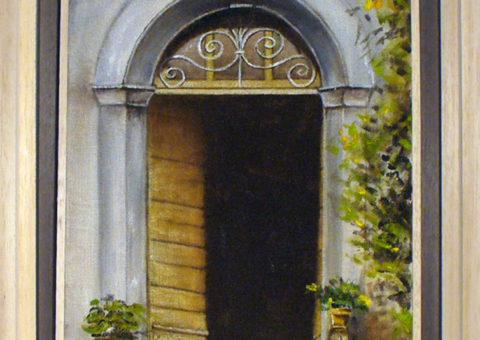 Portale in laterizio (San Polo di Viano) - olio su tela 20x30 cm
