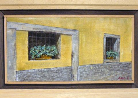 Via Roma, Dro (TN) - olio su tela 30x15 cm
