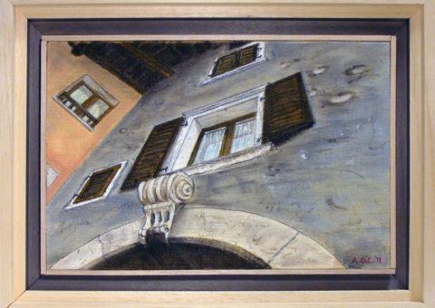 Via Portici, Dro (TN) - olio su tela 30x20 cm