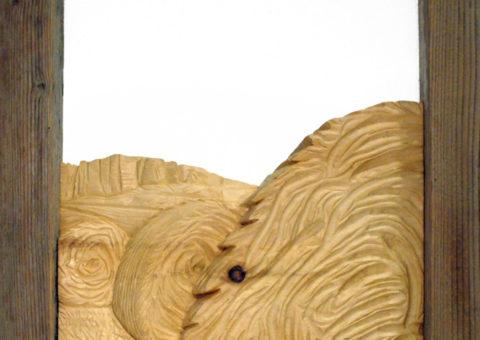 Ancora balloni -  altorilievo su pino cembro 24x30 cm