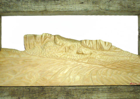 Campo Pianelli -  altorilievo su pino cembro 40x20 cm