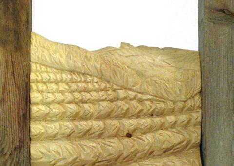 Fieno al sole -  altorilievo su pino cembro 20x30 cm