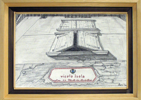 Vicolo Isola, Dro (TN) - carboncino su cartone 31x20,5 cm