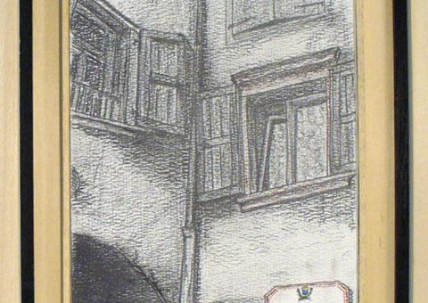 Vicolo della Pace, Dro (TN) - carboncino su cartone 20,5x31 cm