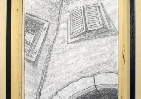 Via Portici 18 a/b, Dro (TN) - carboncino su cartone 20,5x31 cm