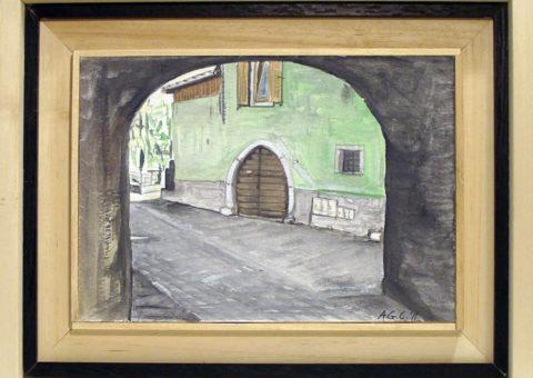 Via Portici 40, Dro (TN) - acquarello su cartone 26x18 cm