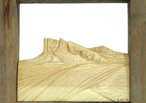 Fontanacornia -  altorilievo su pino cembro 25x23 cm