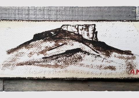 Pietra con cornice grigia 2 - olio su legno e tela 17x8 cm