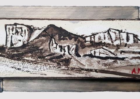 Pietra con cornice grigia 4 - olio su legno e tela 17x8 cm