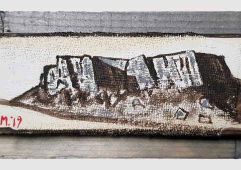 Pietra con cornice grigia 5 - olio su legno e tela 17x8 cm