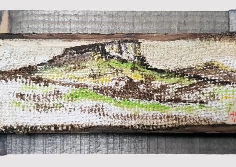Pietra con cornice grigia 6 - olio su legno e tela 17x8 cm