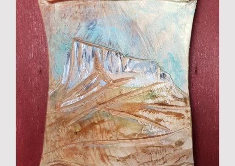 Pietra pergamena 1 - olio su legno 15,5x20 cm