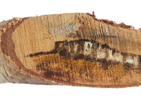 Pietra su betulla 2 - olio su legno 16x5 cm