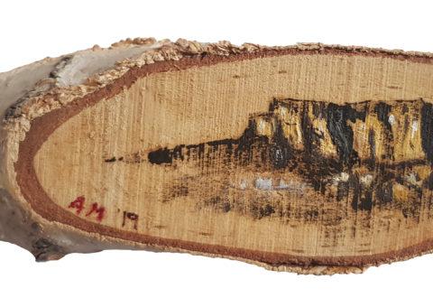 Pietra su betulla 3 - olio su legno 15x5 cm